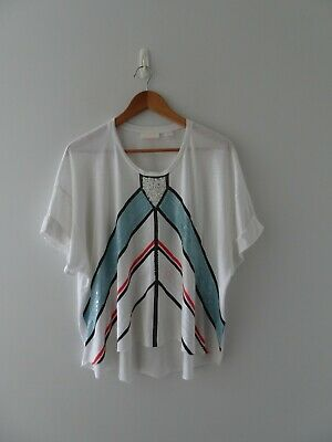 AU54 • Buy SASS & BIDE Loose Fit Embellished T-shirt/Top - Size L (12-14)