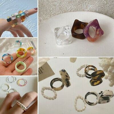 AU2.25 • Buy Geometric Acrylic Multi-color Pearl Resin Finger Rings Simple Ring Party Women