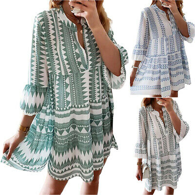 AU29.99 • Buy Women Summer Printed Casual T-Shirts Dresses Short Sleeve Loose Beach Sundress