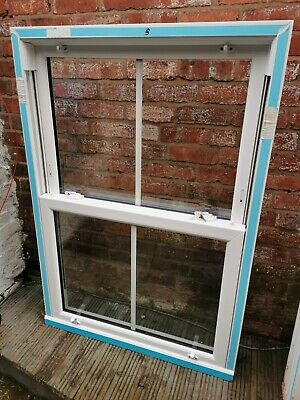 White UPVC Double Glazed Sash Window With 25mm Georgian Bar. 2 Available • 175£