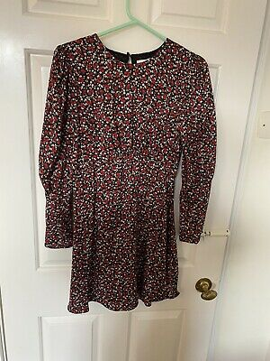 Topshop 8 BNWT Black & Red Floral Long Sleeve Silky Spring Mini Dress Open Back • 4.99£