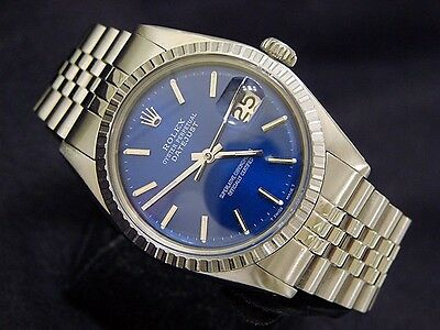 $ CDN5022.42 • Buy Rolex Datejust Mens Stainless Steel Watch Engine-Turned Bezel Blue Dial 1603