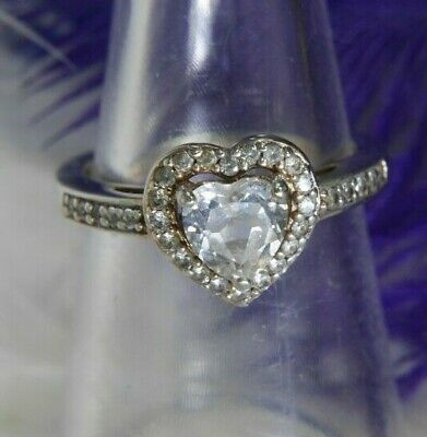 AU214.07 • Buy Heart White Sapphire .925 Sterling Silver & 14K GF Estate Engagement Ring Size 7
