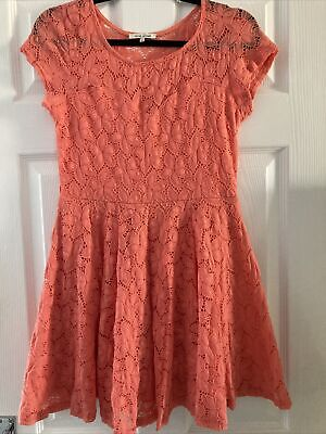 River Island Size 12 Coral Lace Skater Dress • 2.50£