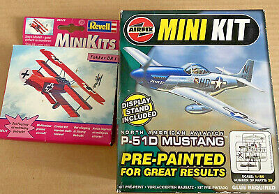 2x Mini Kits - Airfix P-51D Mustang T0003 + Revell Fokker DR 1 -06579 - Aircraft • 0.99£
