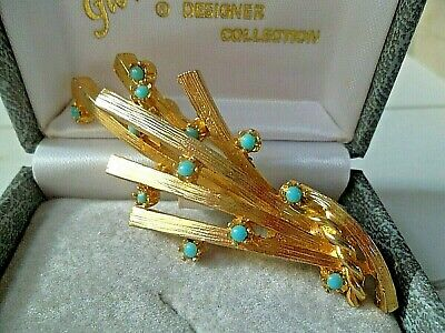 Vintage Costume Jewellery Brooch Pin Glamorous Style Classic Gold Turquoise   • 7.99£