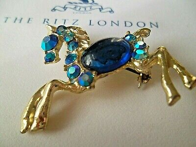 VINTAGE COSTUME JEWELLERY BROOCH PIN PONY HORSE EQUINE TROT ANIMAL BLUE 1960's  • 7.99£