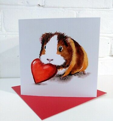 £3 • Buy Guinea Pig Love Heart Greeting Card By Artist Sarah Featherstone 6x6  Blank, Art