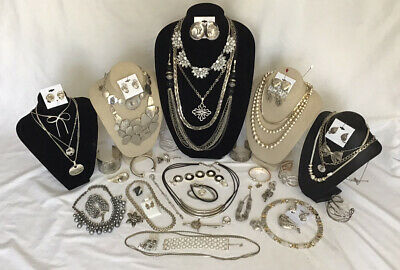 $ CDN24.99 • Buy Vintage To Now Silver Gray Costume Jewelry Lot Necklace Bracelets Rings Etc