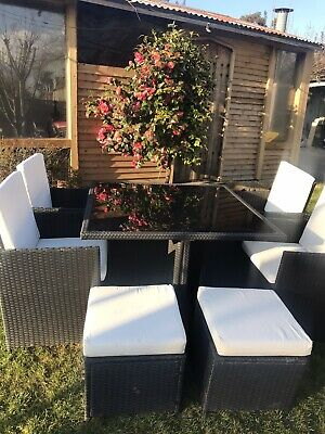 Rattan Cube Garden Furniture Set -9 Piece:Table, 4 Chairs, 4 Stools USED - • 275£