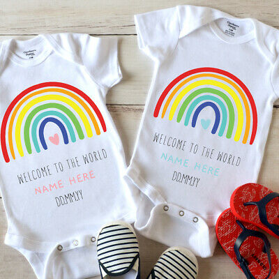 £6.95 • Buy Personalised First Baby Rainbow Vest | Grow Perfect Gift For New Born | Shower