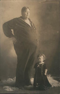 $ CDN20.54 • Buy Circus RPPC Large Man With Tiny Woman Fat People Real Photo Post Card Vintage