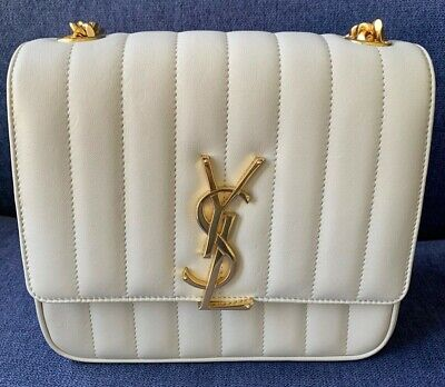 AU1190 • Buy Authentic YVES SAINT LAURENT YSL Vicky Medium Chain Bag In Cream Leather *NEW*