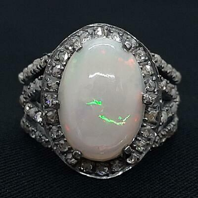 Vintage 11.50ctw Old Rose Cut F-SI Diamond & Opal 925 Sterling Silver Ring 6.6g • 0.72£