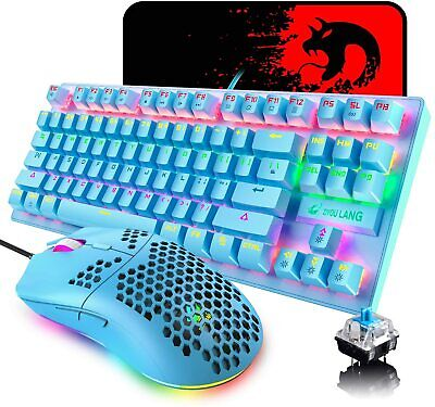 AU71.34 • Buy New Mechanical Gaming Keyboard Mouse 87 Keys Wired Rainbow Backlit For PC PS4 AU