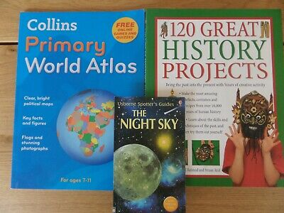 Kids Reference Books, The Night Sky, World Atlas, History Projects • 0.49£