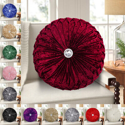 Crushed Velvet Round Cushion Small & Large Filled Cushions Diamante Sofa Cushion • 12.99£