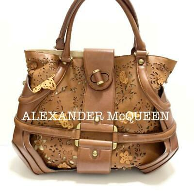 AU524.28 • Buy Alexander McQueen Leather Hand Tote Bag Floral Butterfly Beige Women From Japan