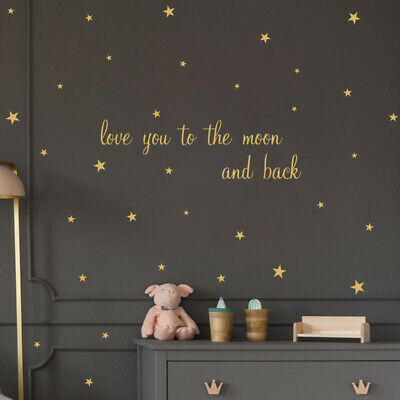 AU15.99 • Buy Removable Wall Stickers Nursery Baby Love You To The Moon And Back Gold Stars AU