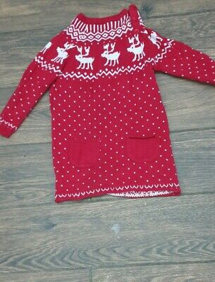 AU5.77 • Buy John Lewis Reindeer Christmas Dress Size 12/18 Months