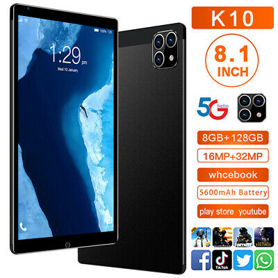 AU89.98 • Buy K10 8.1'' HD 5G  Android 11.0 System  Smart Tablet PC 8G+128G With 3 Lens Camera
