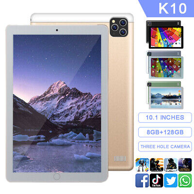 AU112.89 • Buy K10 10.1'' 8G+128G Screen Smart Tablet PC Android8.0 System UK Plug 3Lens Camera