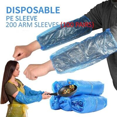 200 Plastic Oversleeves Protective Disposable Blue Arm/Sleeves Covers Waterproof • 10.99£