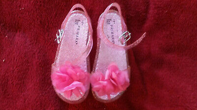 Primark Toddler Girl Junior Pink Glitzy Jelly Sandals With Flower Infant Size 7 • 2.99£