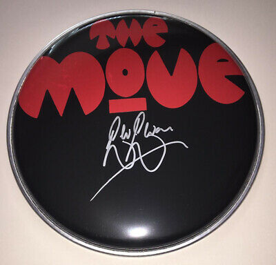 "Signed Bev Bevan The Move 8"" Black Drum Head Rare Authentic Roy Wood Elo • 79.99£"
