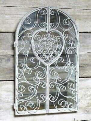 £39.99 • Buy Large Distressed Rustic Garden Arched Grey Wall Mirror Scroll Filigree Shutter