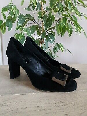 Audley London Black Genuine Suede Leather Stylish Court Shoes Size 5 Great Con • 8£