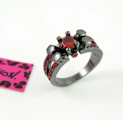 AU1.61 • Buy Hot Betsey Johnson Red Crystal Black Colour Ring Size 8 Valentine's Day Gift