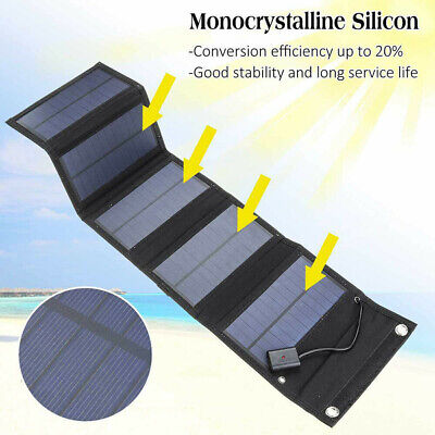 £17.55 • Buy 70W USB Solar Panel Folding Portable Power Charger Camping Travel Phone Charger