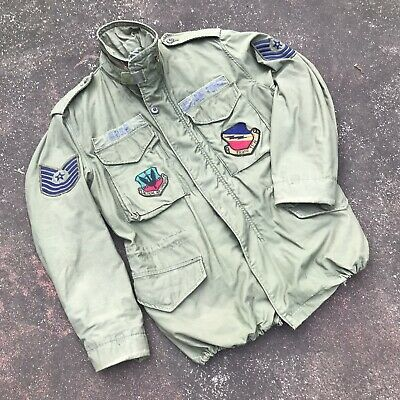 $99.99 • Buy Vintage 70s Alpha Air Force M-65 Military Field Jacket OG 107 Small Patched USA
