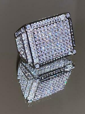 $39.99 • Buy Mens Bling Ring Ice Out 2.5ct Iced Diamond 14k White Gold Pinky Rings Size 6-10