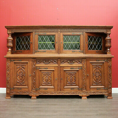 AU1650 • Buy Antique French Sideboard, Oak And Lead Light 2 Height Sideboard Cabinet Cupboard