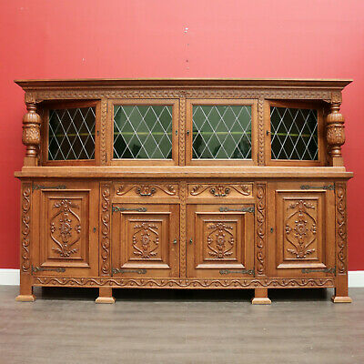 AU1650 • Buy Antique French Sideboard, Oak And Lead Light 2 Height Sideboard Cupboard Cabinet