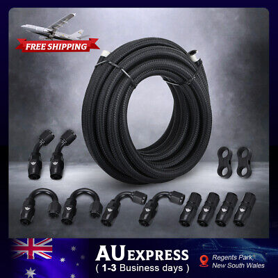 AU70 • Buy 16FT AN6 -6AN Stainless Steel Braided Oil Fuel Line Fitting Hose End Adapter Kit