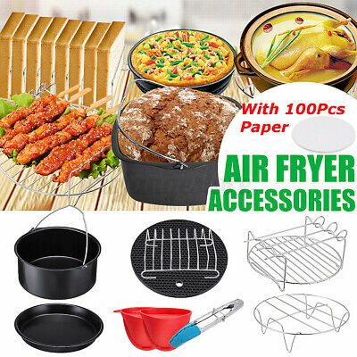 AU21.62 • Buy 7 Inch Air Fryer Frying Cage Dish Baking Pan Rack Pizza Tray Pot Accessories