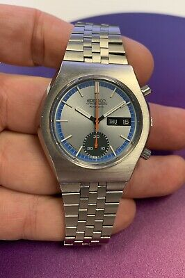 $ CDN218.65 • Buy Seiko 6139-8020 Vintage Chronograph Day Date Automatic Blue Silver Dial