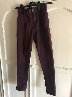 £4 • Buy Boys Next Chinos Trousers Age 9 Years, Burgandy / Wine Colour