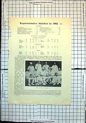Original Old Antique Print Cricket Cambridge Eleven Mr J R Mason • 16£