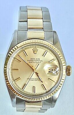 $ CDN6490.36 • Buy Rolex Vintage Datejust 1601 14k Gold And Stainless Steel Automatic Champagne Dia
