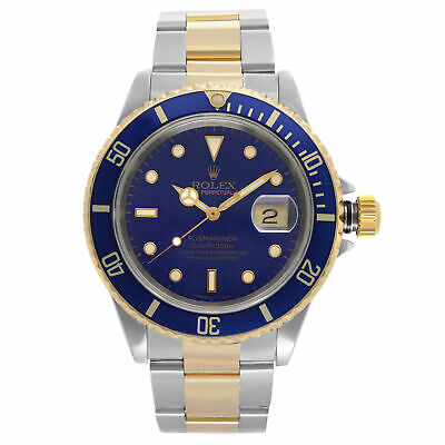 $ CDN13157.35 • Buy Rolex Submariner 18K Yellow Gold Steel Blue Dial Automatic Mens Watch 16613