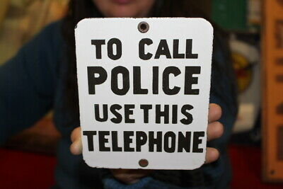 $ CDN15.62 • Buy To Call Police Use This Telephone Callbox Alarm Gas Oil Porcelain Metal Sign