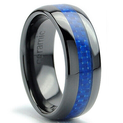 $14.99 • Buy 8MM Dome Men's Black Ceramic Ring Wedding Band With Blue Carbon Fiber Inlay