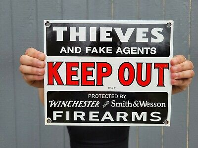 $ CDN1.24 • Buy Vintage Old Protected By Smith And Wesson Winchester Porcelain Gun Sign! Ammo