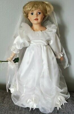 $ CDN43.85 • Buy 23  Beautiful Blonde Hair Bride Porcelain Doll White Wedding Dress With Stand