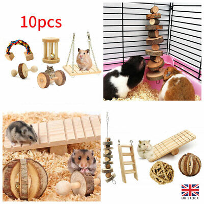 £12.61 • Buy 10Pcs/Pack Wooden Hamster Chew Toy Hamster Rabbit Guinea Pig Accessories Useful