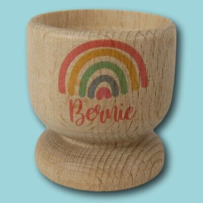 £9 • Buy Rainbow Name Wooden Egg Cup   Personalised Egg Cup   Egg Holder   Rainbow Egg
